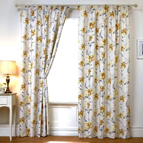 LEMON YELLOW COLOUR READYMADE THERMAL BLACKOUT PENCIL PLEAT TAPE TOP FLORAL DESIGN CURTAINS